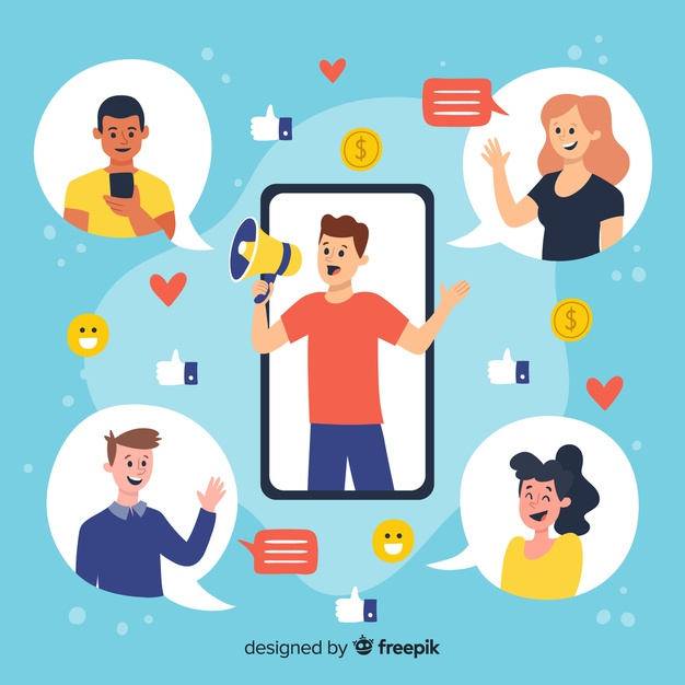 Ilustración comunicación entre personas.